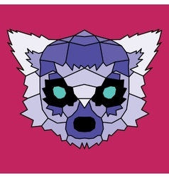 Violet low poly lined lemur vector