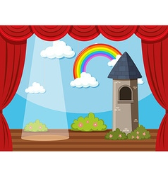 Stage background with tower and rainbow vector