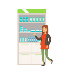 Woman in red sweater in pharmacy choosing and vector