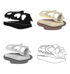 Dinosaur fossils icon in cartoon style isolated on vector