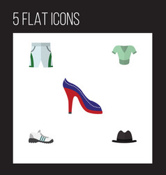 flat clothes set of trunks cloth heeled shoe vector image