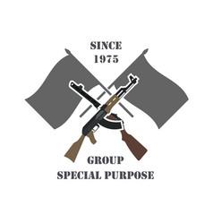 firearm logo template guns rifles badge flat vector image