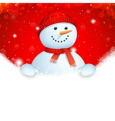 Christmas Banner with Snowman vector image