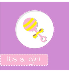 Baby girl rattle shower card vector