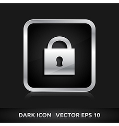 Lock icon silver metal vector