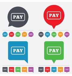 Pay sign icon shopping button vector