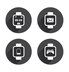 Smart watch icons wrist digital time clock vector