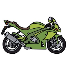 Green strong motorbike vector