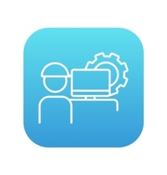 Computerized production line icon vector