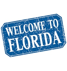 Welcome to florida blue square grunge stamp vector