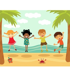 Happy kids in summer vector image