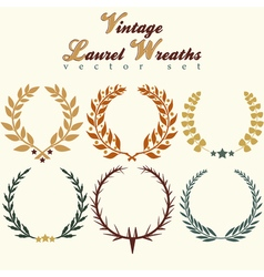Laurels wreaths set vector