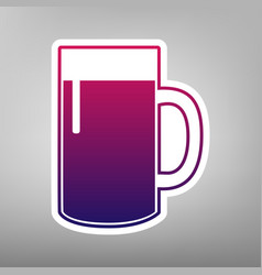 Beer glass sign purple gradient icon on vector
