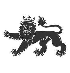 Black lion with crown vector