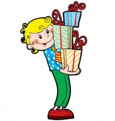 boy with gift vector image vector image