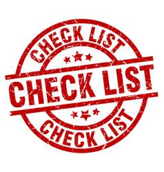 Check list round red grunge stamp vector