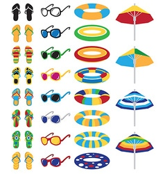 colored beach icons vector image vector image