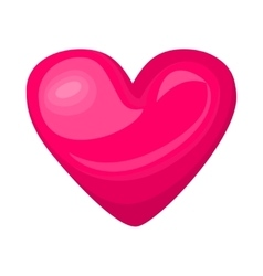 Cute shiny pink heart icon isolated on white vector
