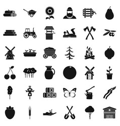 Farming equipment icons set simple style vector