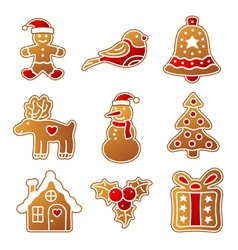 Gingerbread Christmas set vector image vector image