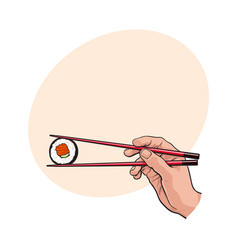 Hand holding japanese sushi roll with pair of vector
