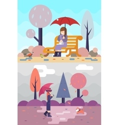 Happy girl sit bench watch birds dog puddles vector