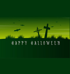 Happy halloween graveyard scary landscape vector