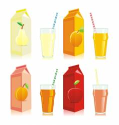 juice carton box and glass vector image vector image
