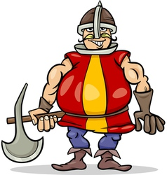 knight with axe cartoon vector image