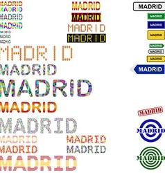 Madrid text design set vector