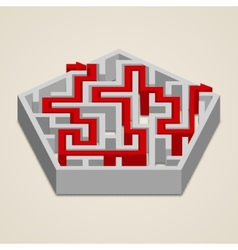 Maze 3d labyrinth with solution vector image