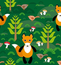 Seamless pattern fox and forest tree mushrooms vector
