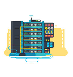Server data center design flat vector