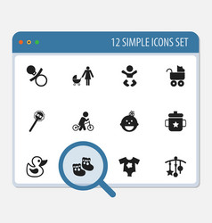 Set of 12 editable child icons includes symbols vector