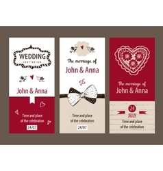 Set of template wedding invitations vector image