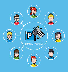 Shared parking concept with group of people vector