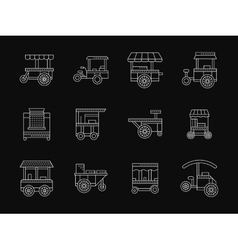 Shop on wheels white flat line icons vector image