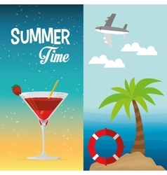 Summer time cocktail palm beach lifebuoy banner vector