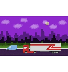 Truck on the road vector image