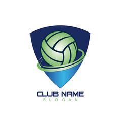volleyball shield logo vector image vector image