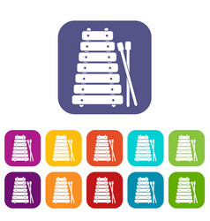 Xylophone and sticks icons set flat vector