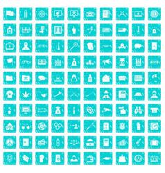 100 criminal offence icons set grunge blue vector image