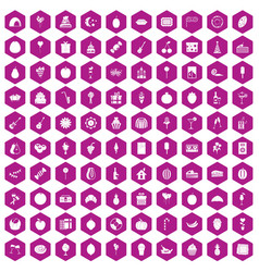 100 fruit party icons hexagon violet vector image vector image