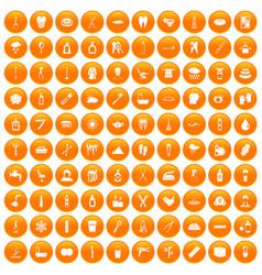 100 hygiene icons set orange vector