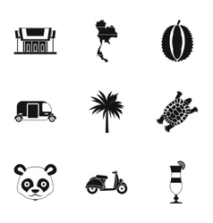Thailand icons set simple style vector image