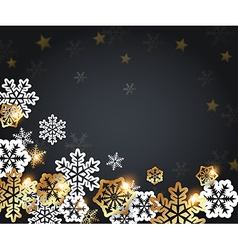 Black christmas background with golden snowflakes vector