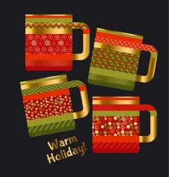Concept xmas style rustic cups souvenir mugs set vector
