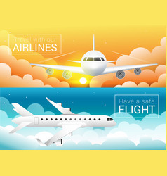 Passenger airplane at sunset sky cloudssafe vector