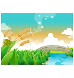 Foot bridge over river vector