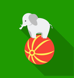 Circus elephant icon in flat style isolated on vector